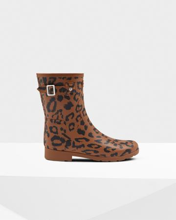 Women's Leopard Print Refined Slim Fit Short Rain Boots