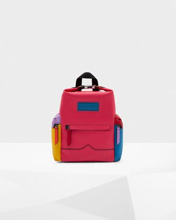 Original Color Block Top Clip Rubberised Leather Backpack