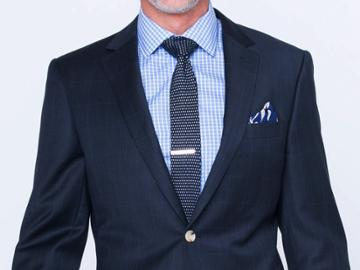 Indochino Deep Indigo Windowpane Custom Tailored Men's Suit