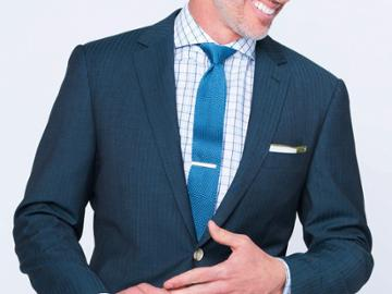 Indochino Deep Teal Herringbone Custom Tailored Men's Suit