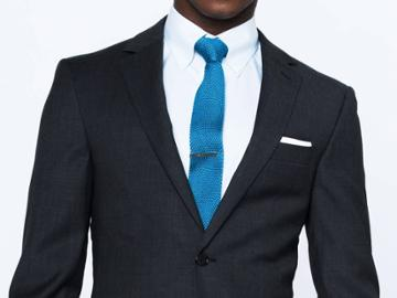 Indochino Coal Black Fineline Custom Tailored Men's Suit
