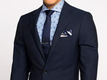 Indochino Navy Wool Stretch Custom Tailored Men's Suit