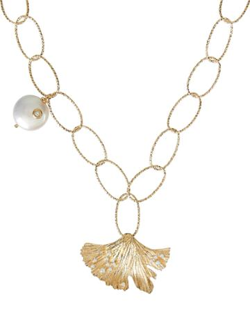 Apples & Figs Love Potion Leaf And Pearl Necklace Gold 1size