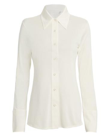 Helmut Lang Silk Jersey Button Down Top Ivory L