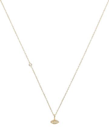 Zoe Chicco Midi Bitty Evil Eye Floating Diamond Necklace Gold 1size