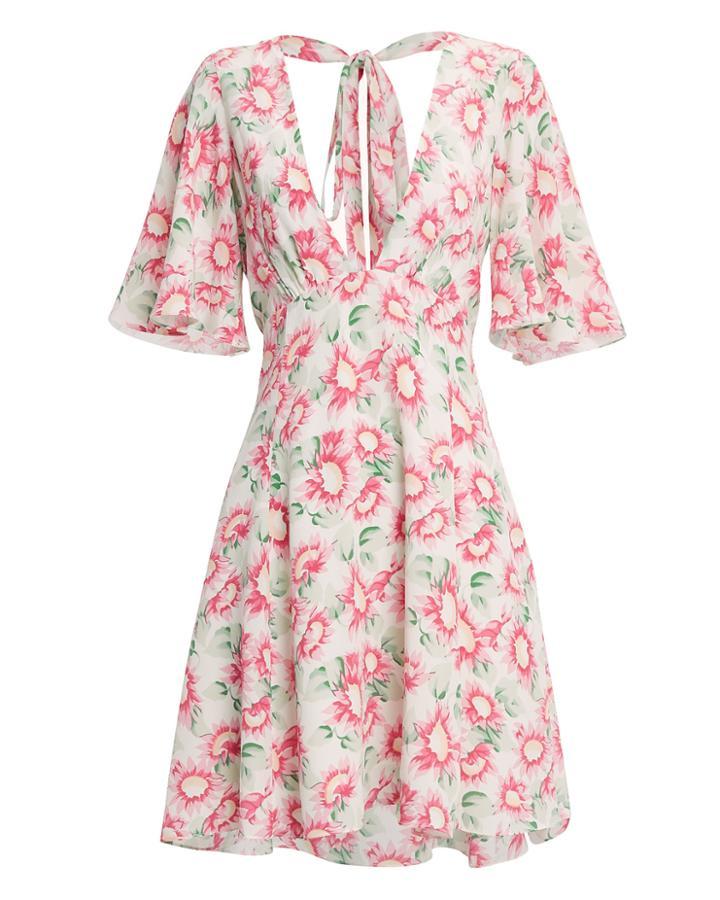 Les Reveries Petal Silk Mini Dress Blush/floral 2