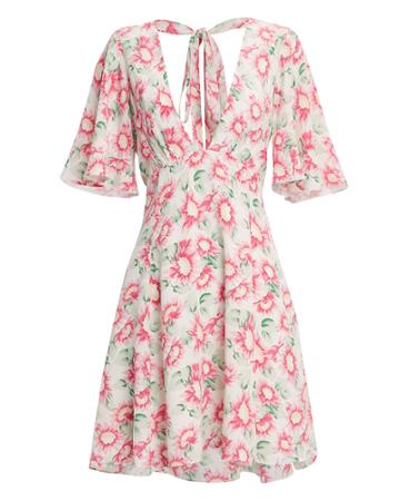 Les Reveries Petal Silk Mini Dress Blush/floral 2