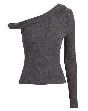 The Range Waffle Knit Twisted Bare Shoulder Top Grey M