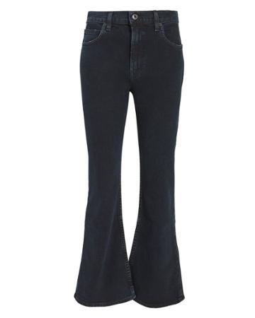 Proenza Schouler Pswl Dark Wash Cropped Flare Jeans Denim-drk 25