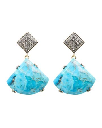 Ela Rae Jewelry Ela Rae Drop Pendant Earrings Turquoise/crystal 1size
