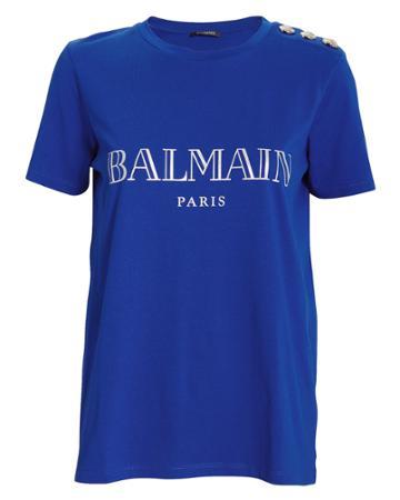 Balmain Balmain Button-detail Logo Tee Blue-med 34