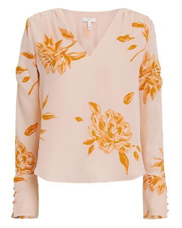 Joie Galvin Floral Blouse Blush/tangerine Xl