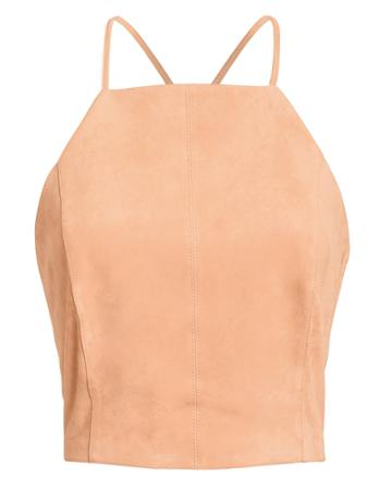 5th & Mode Fifth & Mode Brooklyn Lace-up Suede Top Blush 2