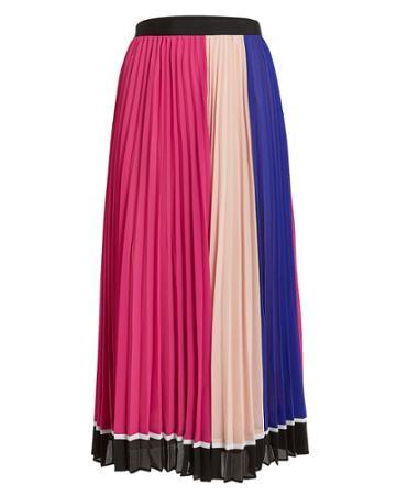 Self-portrait Multi Striped Chiffon Skirt Pink/blush/blue 6