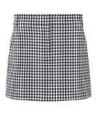 Tibi Gingham Mini Skirt Blk/wht Zero