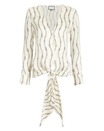 Alexis Dulcie Chain Print Blouse Ivory Xl