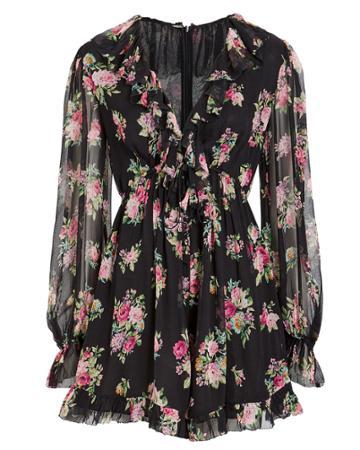 Zimmermann Honour Silk Playsuit Black/floral Zero