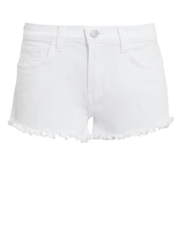 L'agence Zoe White Cut Off Denim Shorts White 24