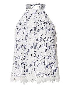 Exclusive For Intermix Roxie Striped Underlay Lace Top