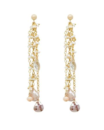Ela Rae Jewelry Ela Rae Mixed Stone Chain Drop Earrings Ivory/gold 1size