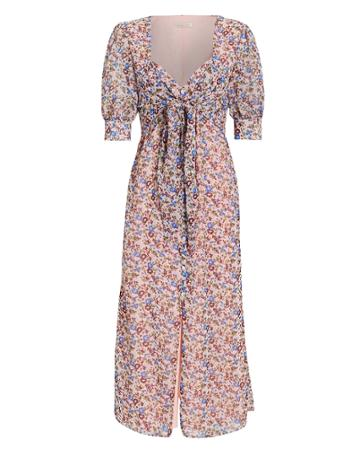 The East Order Sophie Tie Front Midi Dress Pink/floral S