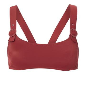 Solid & Striped Evelyn Buckle Bikini Top Red M