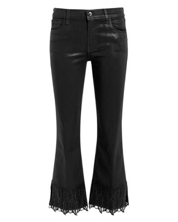 J Brand Selena Coated Lace Crop Boot Jeans Black 25