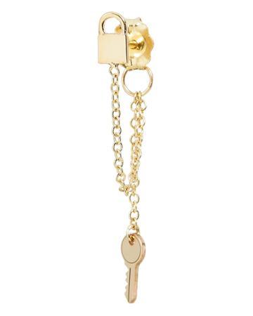 Zoe Chicco Itty Bitty Padlock Key Earring Gold 1size