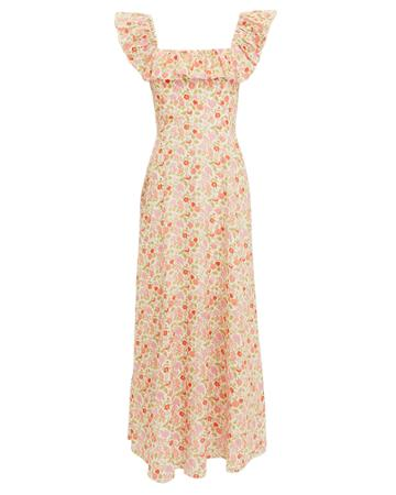 Zimmermann Goldie Linen Maxi Dress Ivory/floral Zero