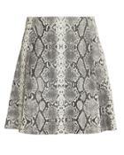 Veda Leather Python-printed Mini Skirt Grey P