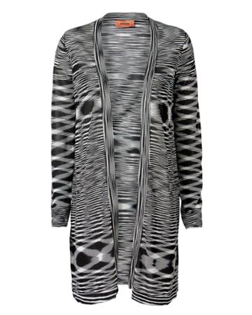 Missoni Space-dyed Balloon Sleeve Cardigan Black/white 36