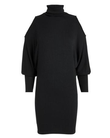 Enza Costa Cold Shoulder Dolman Sleeve Mini Dress Black P