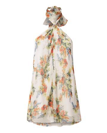 Haute Hippie Floral Chiffon Keyhole Top