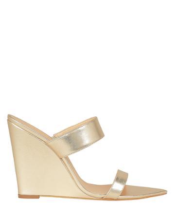 Schutz Soraya Gold Leather Wedge Sandals Gold 9.5