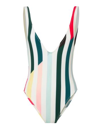Solid & Striped Michelle Deep-v Striped One Piece Swimsuit Pattern M