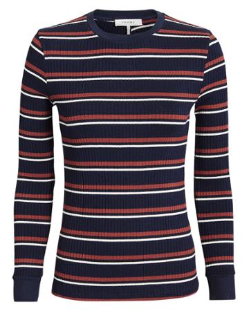 Frame Striped Long-sleeved Tee Navy P