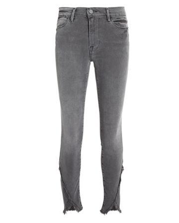 Frame Quinby Asymmetrical Frayed Hem Jeans Grey 24