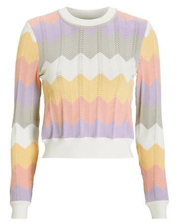 Torn Ronny Kobo Chevron Knit Sweater Blush/yellow/purple L