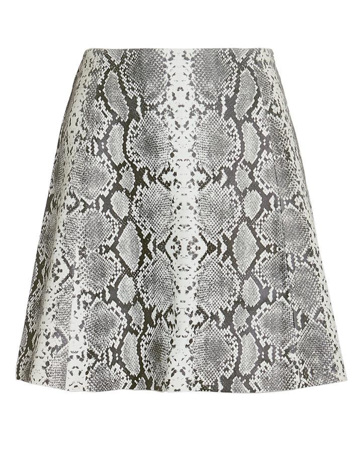 Veda Leather Python-printed Mini Skirt Grey L