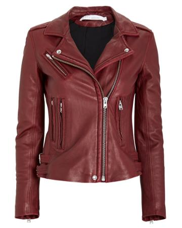 Iro Han Leather Moto Jacket Dark Red 38
