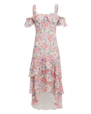 Exclusive For Intermix Intermix Sophia Printed High-low Dress Blush/light Floral Zero