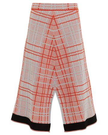 Proenza Schouler Plaid Knit Split Skirt Red/blue Plaid M