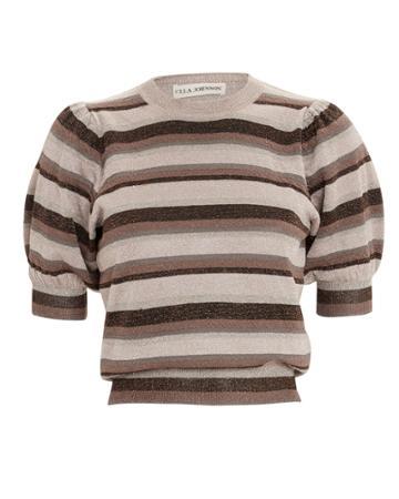 Ulla Johnson Lurex Stripe Sweater Brown/blush Metallic L