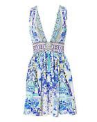 Camilla Porcelain Paradise V-neck Mini Dress