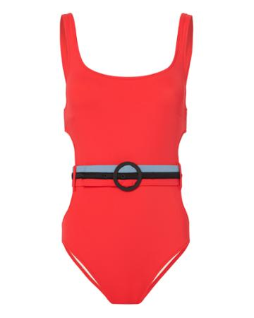 Solid & Striped Joan Belted Cutout One Piece Swimsuit Red M