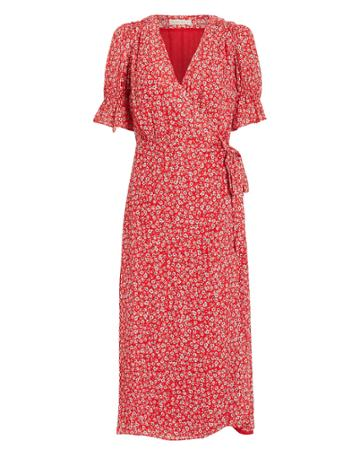 Stevie May Claret Midi Dress Red/white/floral S