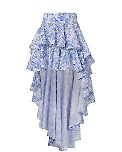 Caroline Constas Giulia Blue Toile Skirt