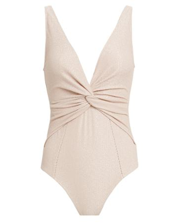 Jonathan Simkhai Metallic Twist Front One-piece Swimsuit Blush/metallic S