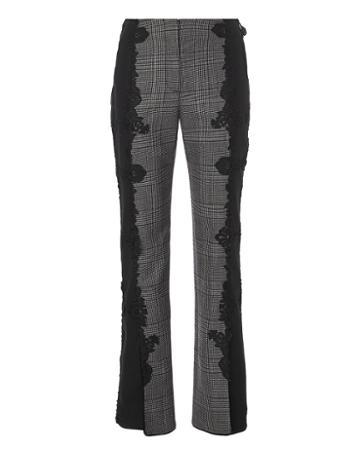 Jonathan Simkhai Lace Appliqu  Plaid Pants Grey 6