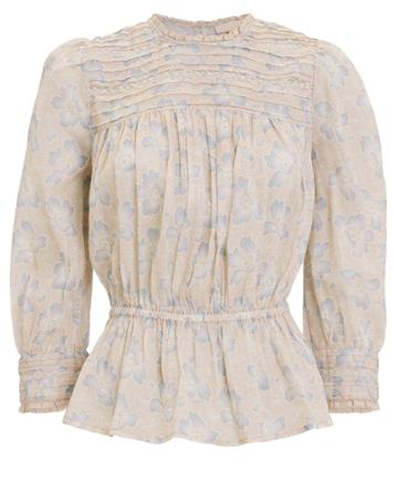 Bytimo Floral Cotton Lace Blouse Blush/floral M